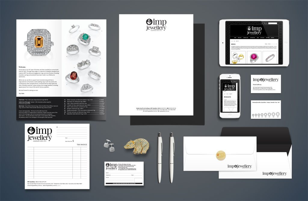 IMP Jewellery stationary and website design