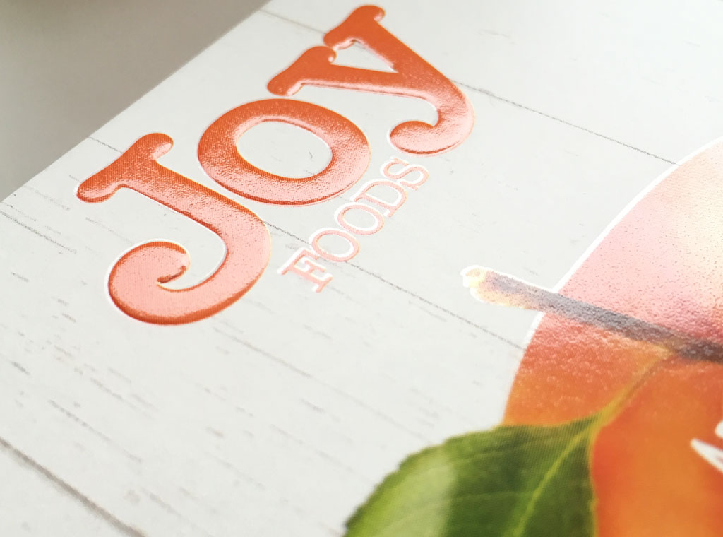 Joy Foods muesli bars packaging with embossing and spot varnish finsihing