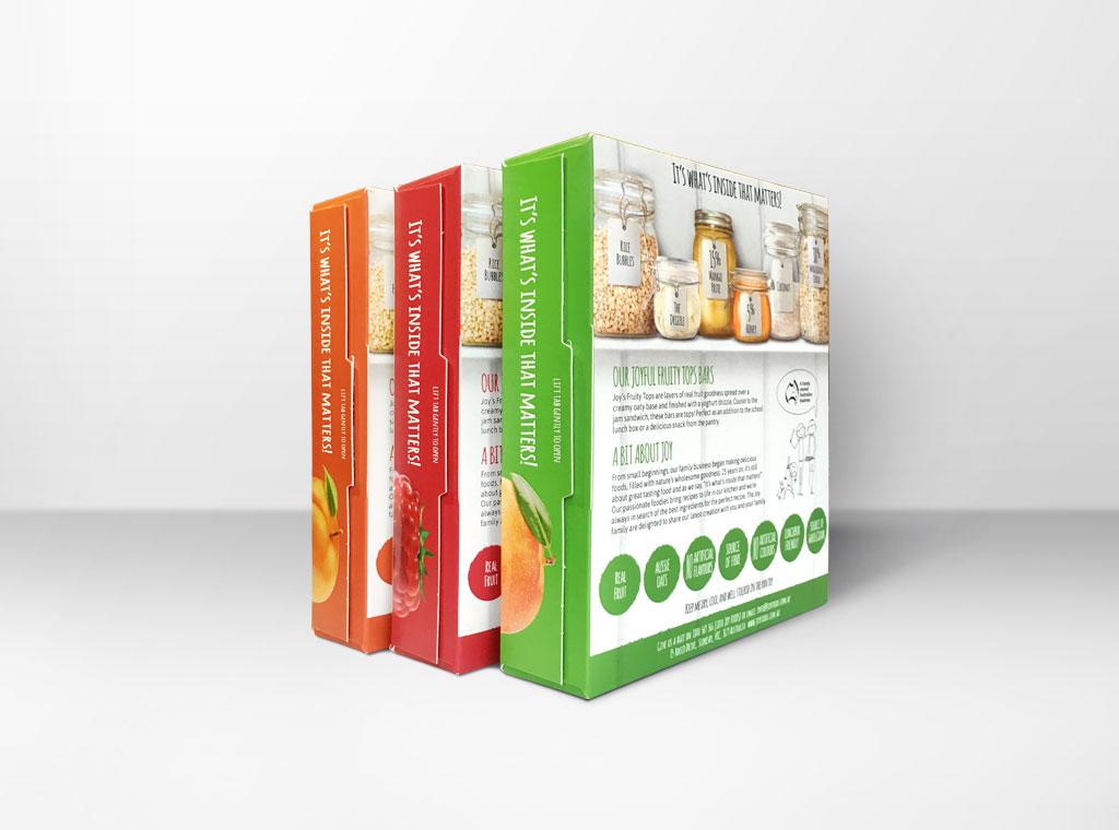 Joy Foods muesli bars packaging design