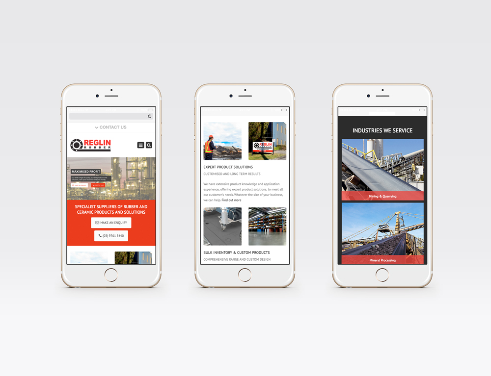 Reglin Rubber mobile responsive pages