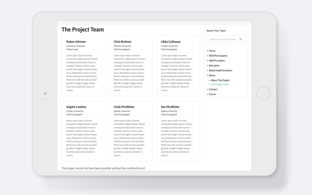 Responsive design for about the team